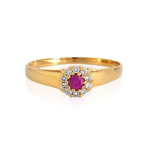 Anel de Ouro 18k de Formatura com Rubi e Diamante