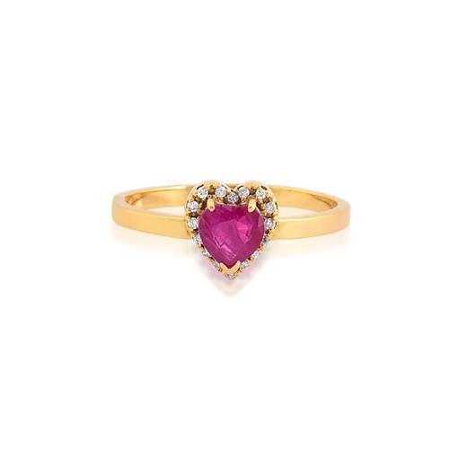 Anel de Ouro 18k com Rubi e Diamante