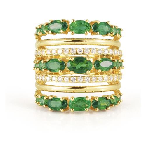 Anel de Ouro 18k com Turmalina e Diamante