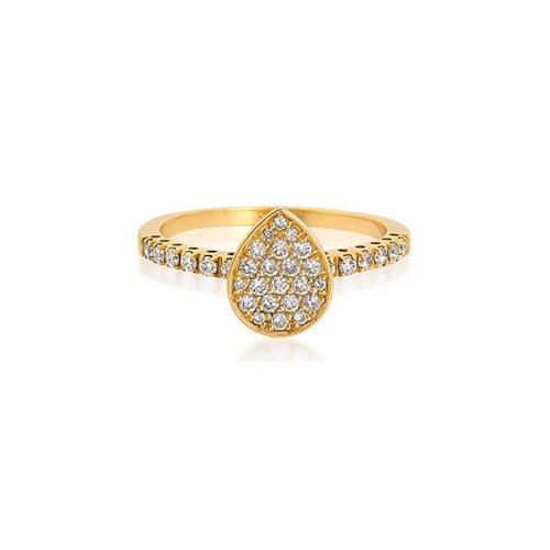 Anel de Ouro 18k de gota com Diamantes.