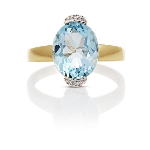 Anel de Ouro 18k com Topázio e Diamante