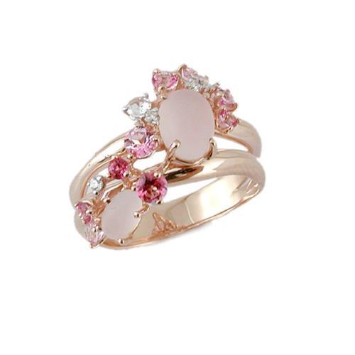 Anel de Ouro 18k com Diamante, Quartzo, Safira e Topázio