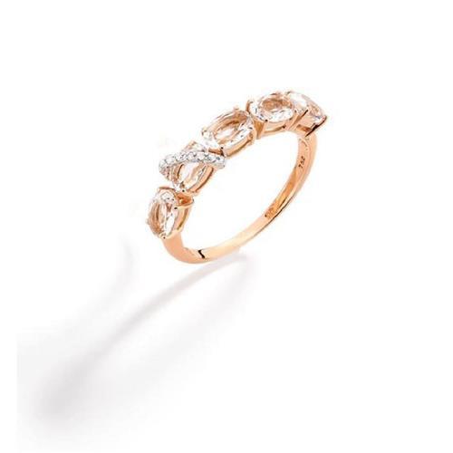 Anel de Ouro 18k com Diamante e Quartzo