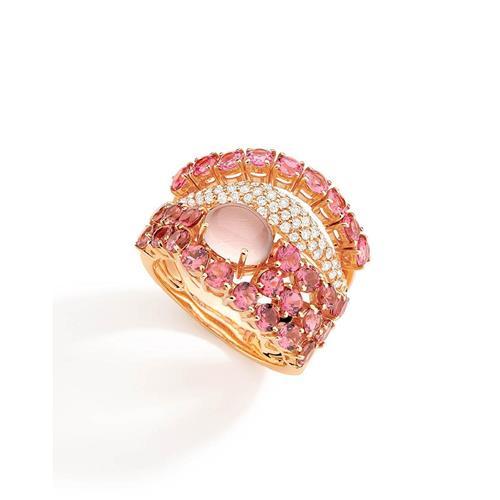 Anel de Ouro 18k com Diamante, Quartzo e Turmalina