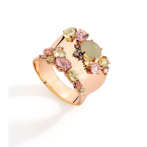 Anel de Ouro 18k com Diamante, Safira, Green Gold e Granada Mandarim