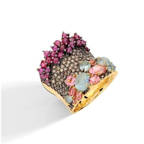 Anel de Ouro 18k com Diamante, Água Marinha, Rubi e Turmalina