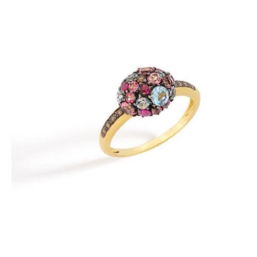 Anel de Ouro 18k com Diamante, Rodolita e Topázio