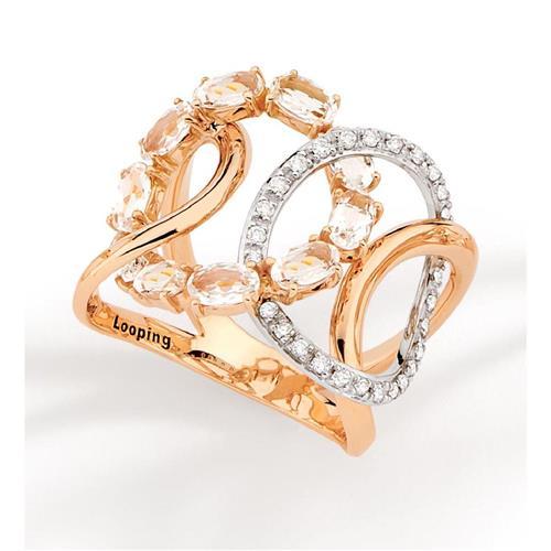 Anel de Ouro 18k com Diamante e Cristal