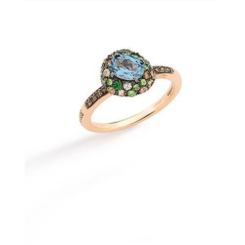 Anel de Ouro 18k com Diamante, Topázio, Safira e Tsavorita