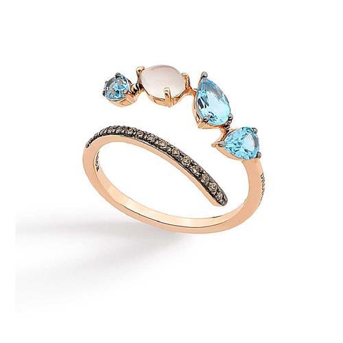 Anel de Ouro 18k com Diamante, Pedra da Lua e Topázio