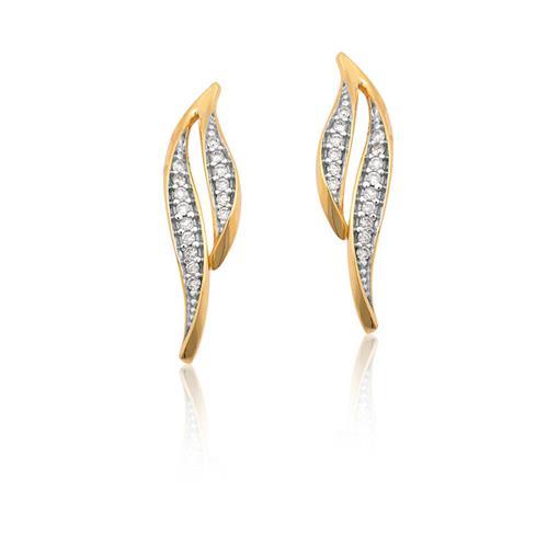 Brinco de Ouro 18k com Diamante Rodinado