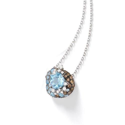 Gargantilha de Ouro 18k com Diamante e Topázio