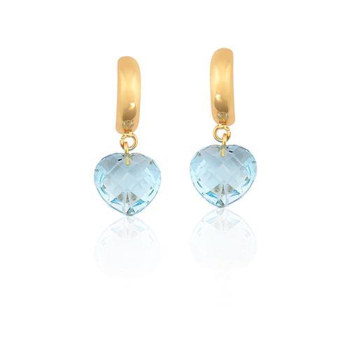 Brinco de Ouro 18k de Coração com Topázio Azul