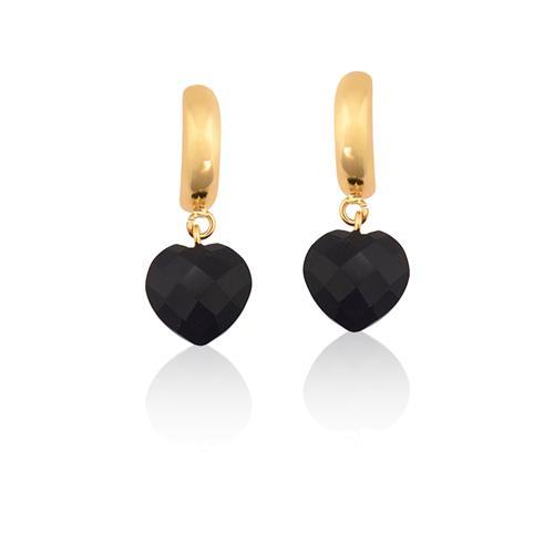 Brinco de Ouro 18k de Coração com Pedras Brasileiras