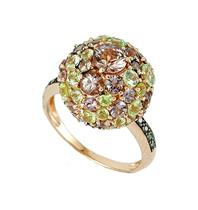 Anel de Ouro 18k com Diamante, Crisoberilo e Granada Mandarim