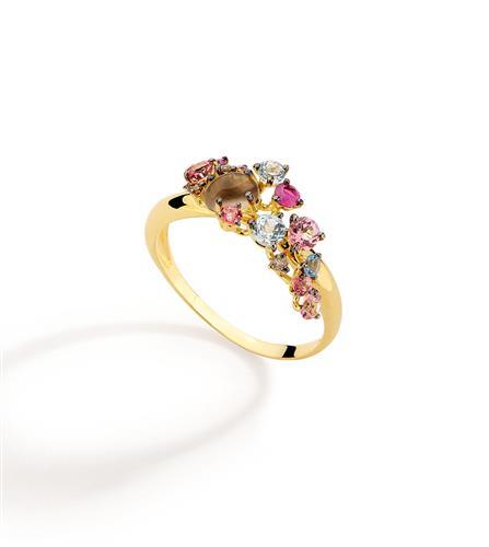 Anel de Ouro 18k com Diamante, Rubi, Topázio e Quartzo