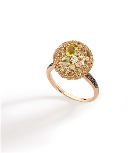 Anel de Ouro 18k com Diamante, Crisoberilo e Quartzo