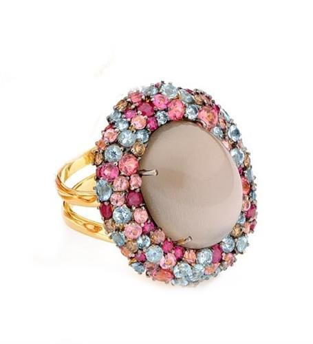 Anel de Ouro 18k com Diamante, Quartzo, Água Marinha, Rubi e Turmalina