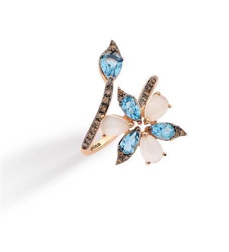 Anel de Ouro 18k com Diamante, Topázio e Pedra da Lua