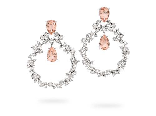 Brinco de Ouro 18k de Argola com Diamante e Morganita