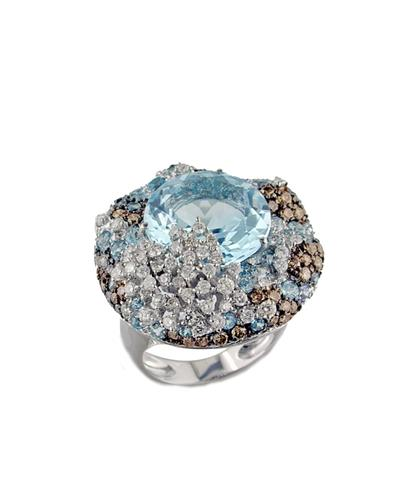 Anel de Ouro 18k com Diamante e Topázio