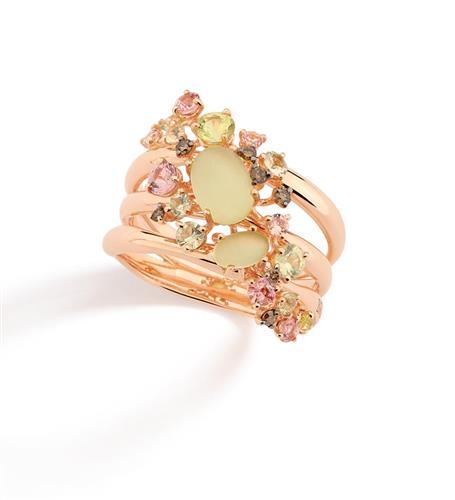 Anel de Ouro 18k com Diamante, Granada, Crisoberilo e Quartzo