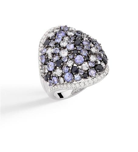 Anel de Ouro 18k com Diamante, Tanzanita e Safira