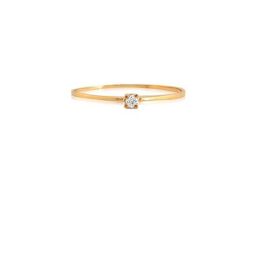Anel de Ouro 18k Solitário com Diamante