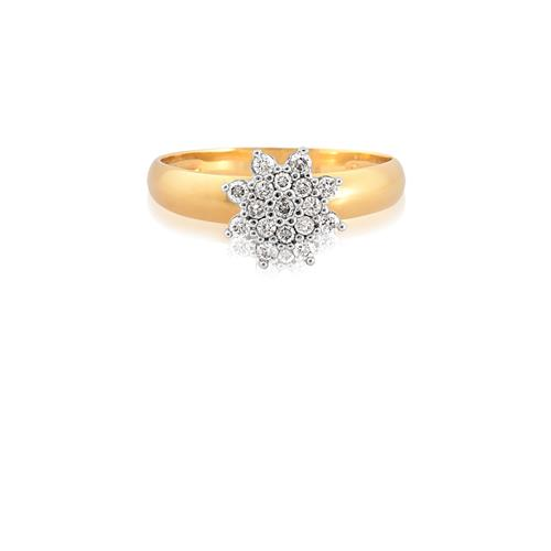 Anel de Ouro 18k com Diamante Rodinado