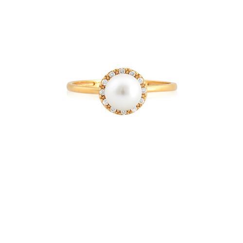 Anel de Ouro 18k com Diamante e Pérola