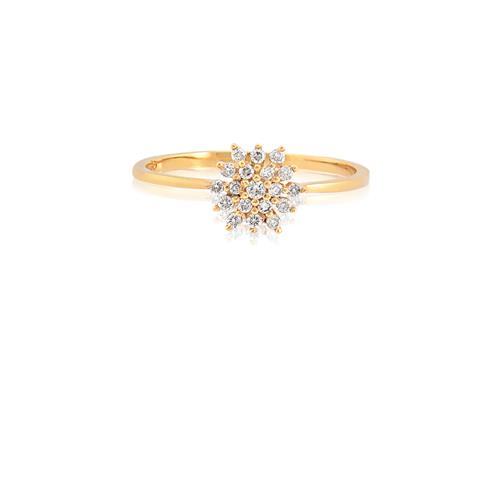 Anel de Ouro 18k de Flor com Diamante