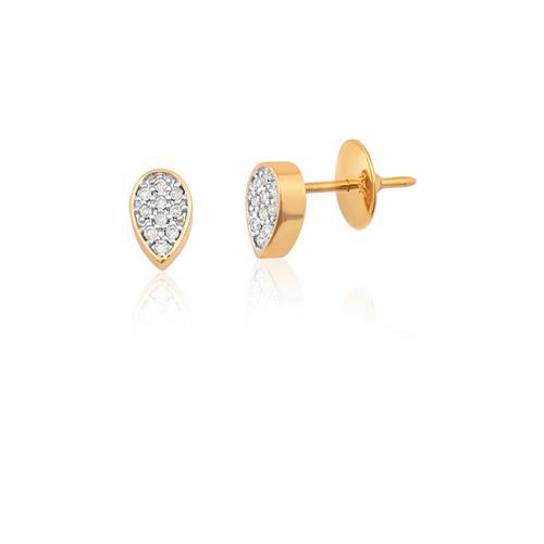 Brinco de Ouro 18k de Gota com Diamante