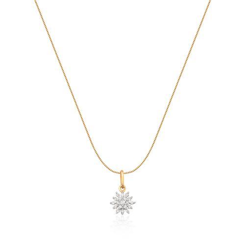 Pingente de Ouro 18k de Flor com Diamante Rodinado