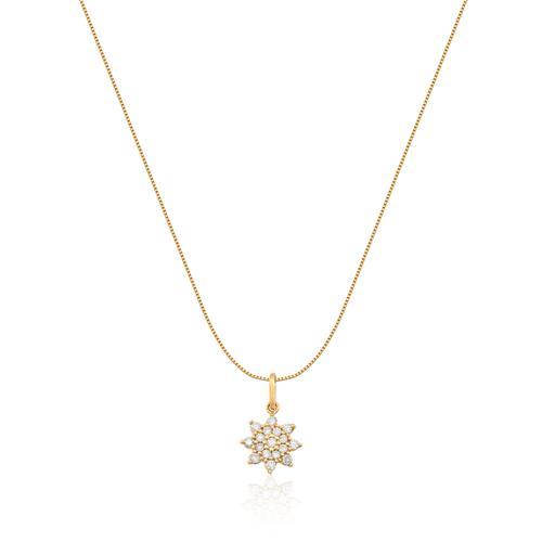 Pingente de Ouro 18k de Estrela com Diamante
