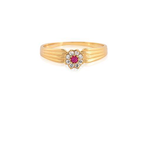 Anel de Ouro 18k com Diamante e Rubi