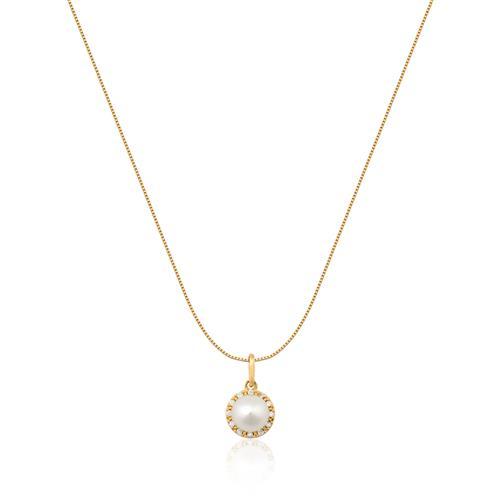 Pingente de Ouro 18k com Diamante e Pérola