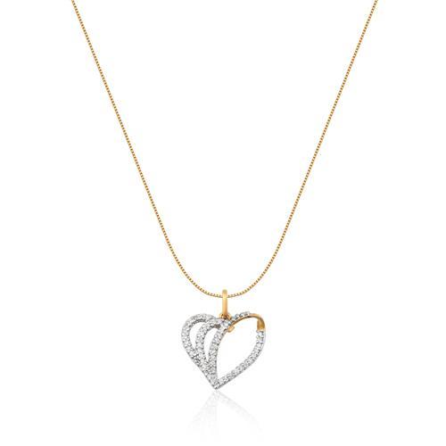 Pingente de Ouro 18k de Coração com Diamante