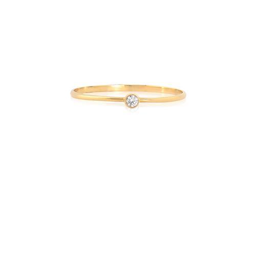 Anel Solitário de Ouro 18k com Diamante