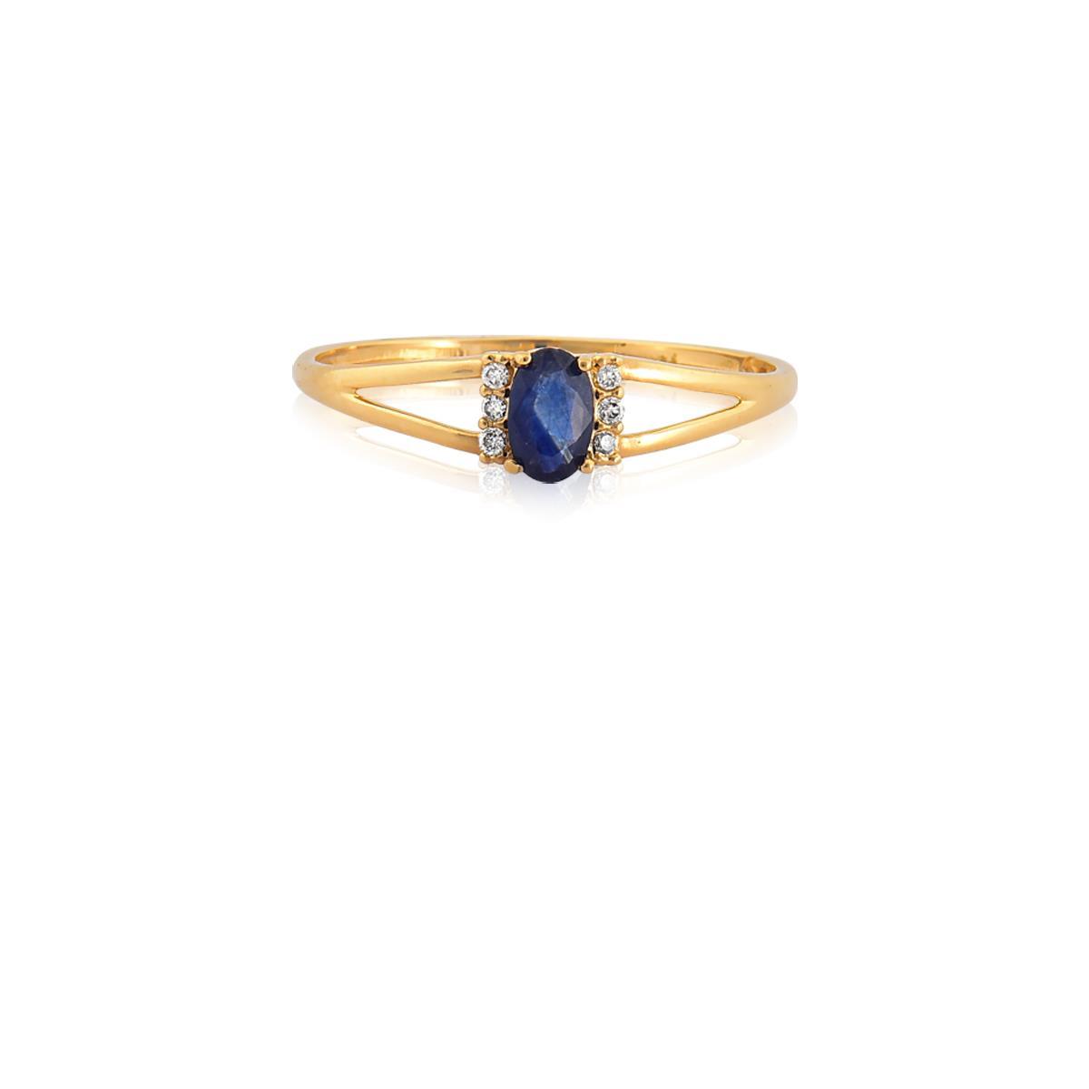 Anel Solitário de Ouro 18k com Diamante e Safira - ANF9147 2928 - Coliseu 55a9b1d197