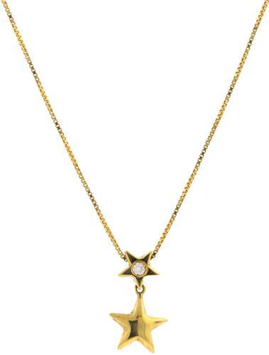 Gargantilha de Ouro 18k com Estrela e Diamante