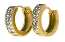 Brinco de Ouro 18k de Argola com Diamante