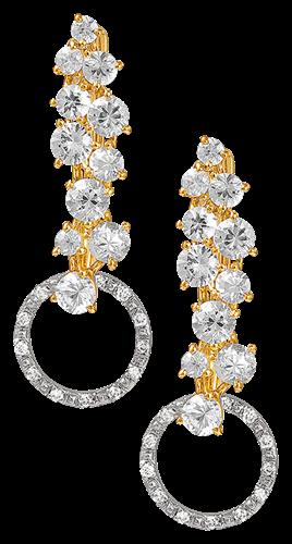 Brinco de Ouro 18k com Diamante e Safira