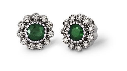 Brinco de Ouro 18k de Flor com Diamante e Esmeralda