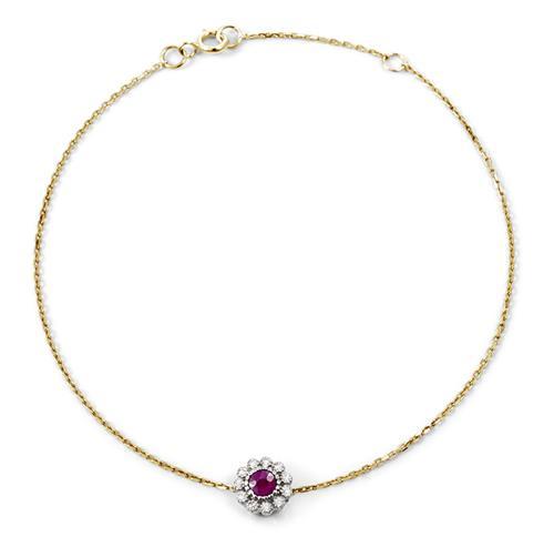 Pulseira de Ouro 18k de Flor com Diamante e Rubi