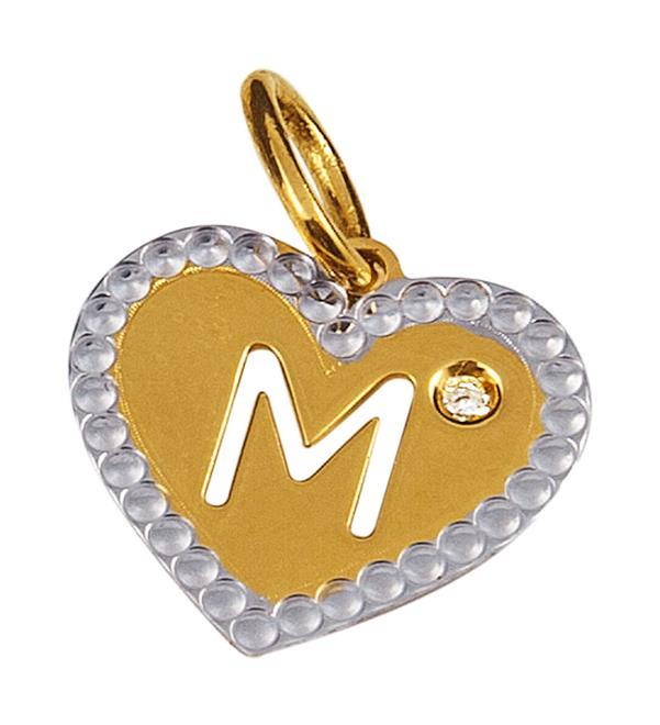 f458af2fdd77f Pingente de Ouro 18k de Coração com Letra M e Diamante - P.01092M ...