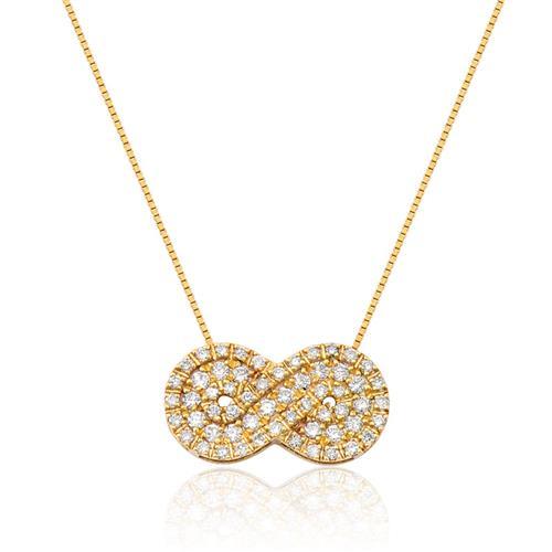 Pingente de Ouro 18k de Infinito com Diamante