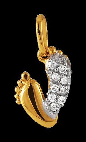 Pingente de Ouro 18k de Pés com Diamante