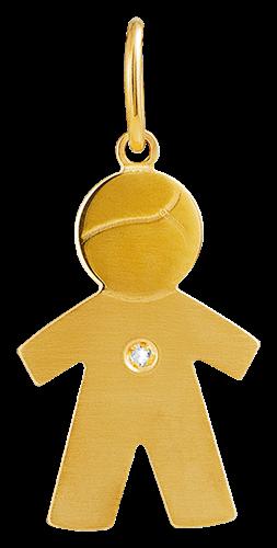 Pingente de Ouro 18k de Menino com Diamante