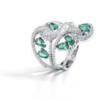 Anel de Ouro 18k com Diamante e Esmeralda