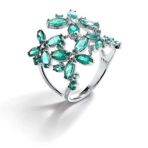 Anel de Ouro 18k com Esmeraldas e Diamantes